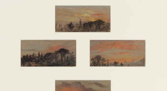 Dez esboços do pôr do sol em Chelsea, pintados em 8 de setembro de 1883 por William Ascroft