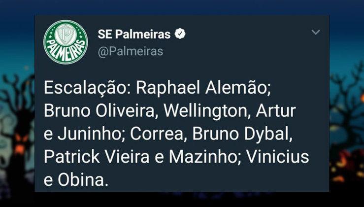 Escalação do Palmeiras rebaixado para a Série B em 2012. Quanta diferença para 2021!