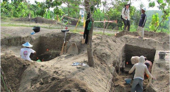 Escavações realizadas em Ngandong em 2010
