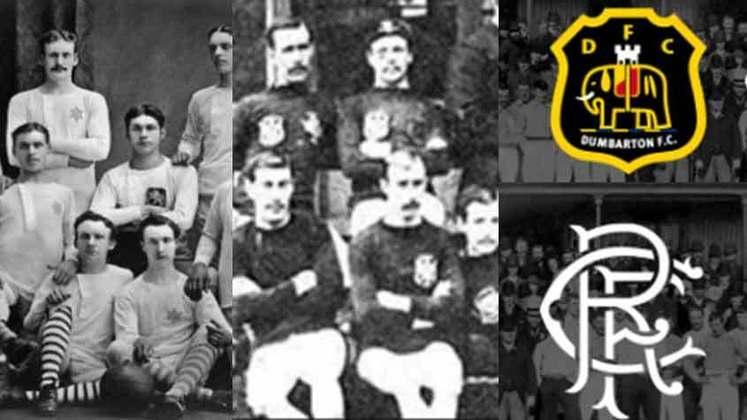 Escócia - A edição 1 da Liga Escocesa, em 1890/91, teve dois vencedores. Dumbarton (na foto à esquerda e com o escudo mais no alto) e Rangers, que terminaram com os mesmos 29 pontos e campanhas idênticas. Porém, caso o saldo de gols fosse quesito de desempate, o Dumbarton teria levado a melhor. O Dumbarton foi campeão no ano seguinte e, depois disso, nunca mais. E desde 1984/85 não avança à elite. Hoje está na Segundona. O Rangers é um dos dois grandes do país, dono de 50 títulos, atrás do Celtic, que tem 55.