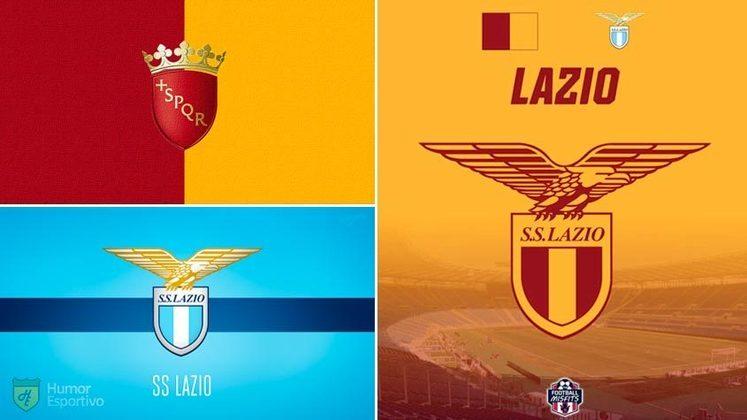 Escudo da Lazio com as cores da bandeira de Roma