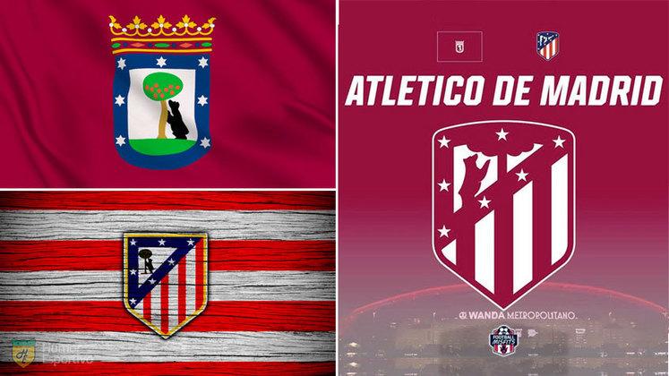 Escudo do Atlético com as cores da bandeira de Madrid