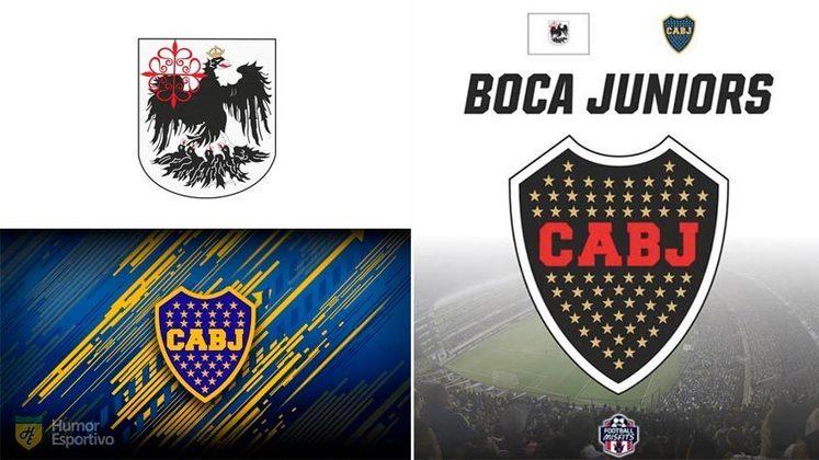 Escudo do Boca Juniors com as cores da bandeira de Buenos Aires