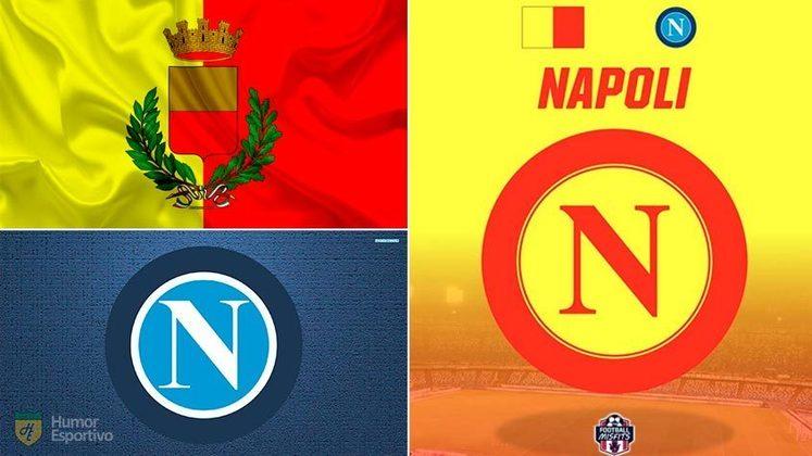 Escudo do Napoli com as cores da bandeira da cidade de Napoli