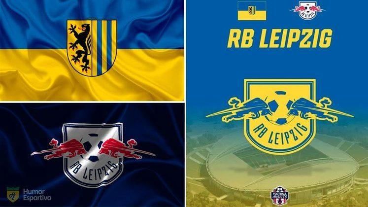 Escudo do RB Leipzig com as cores da bandeira da cidade de Leipzig