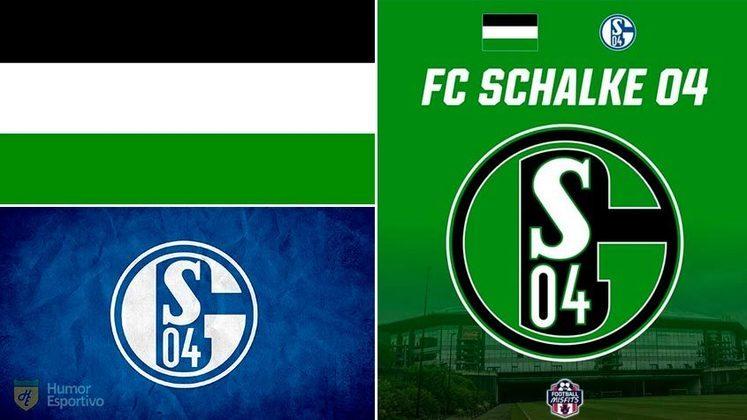 Escudo do Schalke 04 com as cores da bandeira da cidade de Gelsenkirchen