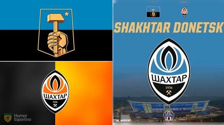 Escudo do Shakhtar com as cores da bandeira de Donetsk