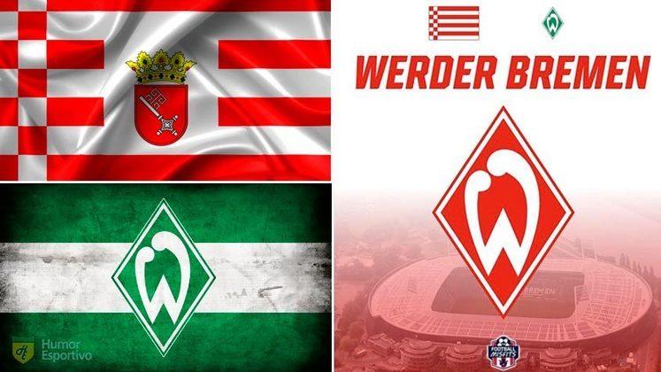 Escudo do Werder Bremen com as cores da bandeira da cidade de Bremen