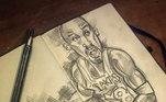 Fora do futebol, o artista fez um desenho para a grande lenda da NBA, Kobe Bryant, que morreu em acidente de helicóptero neste ano