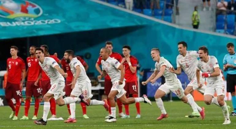 A festa da Espanha, ao final da disputa de penais