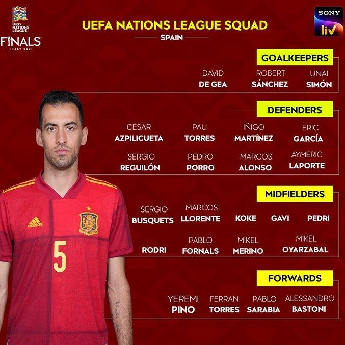 O capitão Busquets e o elenco da Espanha