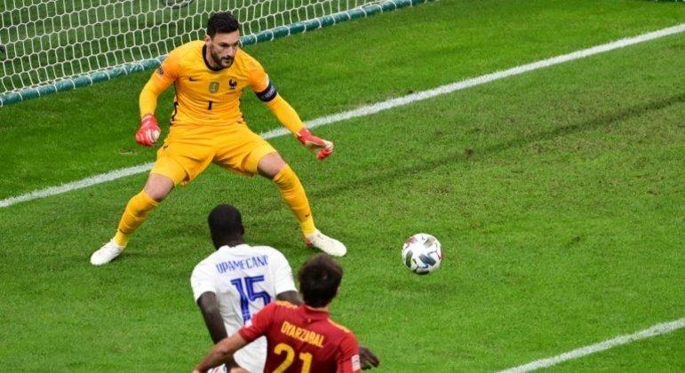 Detalhe do gol de Oyarzábal, a Espanha com 1 X 0