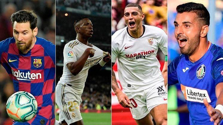 Espanha (La Liga) - Barcelona, Real Madrid, Sevilla e Getafe seriam os classificados para a Champions League 2020/21, caso o Campeonato Espanhol seja finalizado.