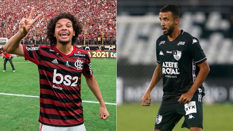 Está bem, Arão: Outrora criticado, o camisa 5 do Flamengo está em alta no Flamengo, e bateu o jovem Caio Alexandre, cria do Botafogo, no meio de campo.