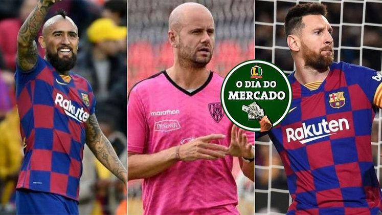 Esta quinta-feira foi agitada no mercado da bola. Teve Vidal falando que pode jogar no Flamengo, técnico do Del Valle sendo pedido no Palmeiras e 'novela Messi' perto do fim. Veja estas e outras negociações!