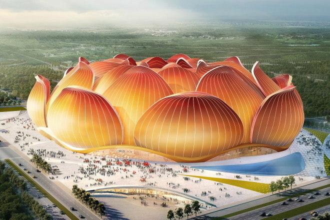 """O novo estádio do Guangzhou Evergrande terá o formato de flor de lótus. A cidade de Guangzhou é conhecida como """"cidade das flores"""". A expectativa é que o estádio comporte mais de 100 mil pessoas"""