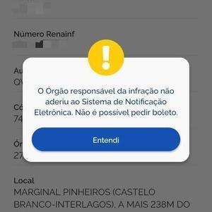 Mensagem no app informa situação do SNE em cada estado