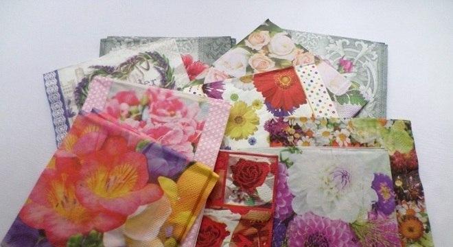 Estampas florais de guardanapo para decoupage