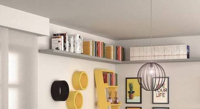 estante decorativa colorida sala de estar leroy