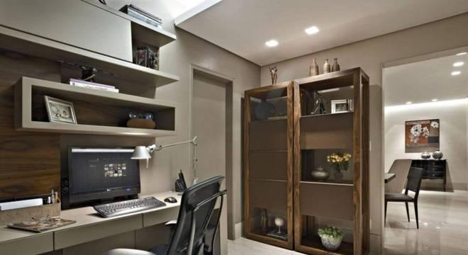 estante dupla em madeira home office gislene lopes