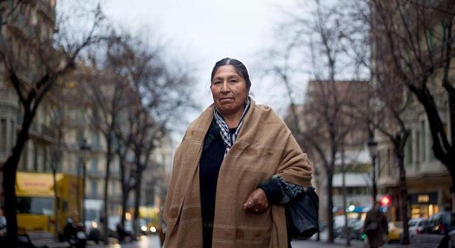 Esther, irmã de Evo Morales, durante uma visita à Espanha em 2012