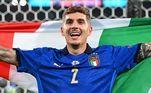 Di Lorenzo comemora o título com a bandeira da Itália