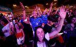 Torcedores italianos comemoram o gol de empate da Azurra na final da Eurocopa
