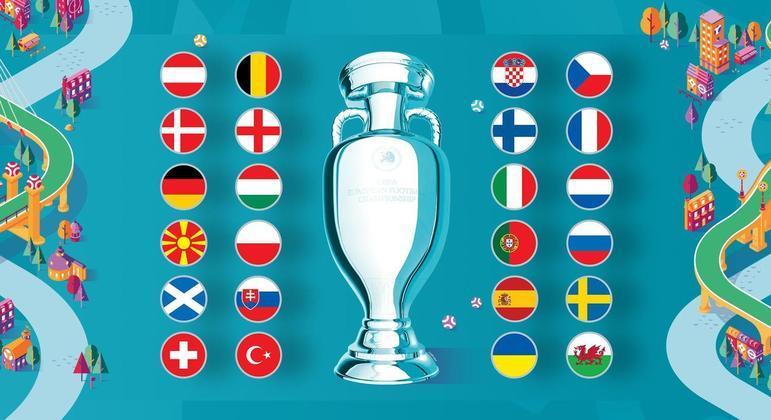 Um poster da competição, com as suas 24 seleções