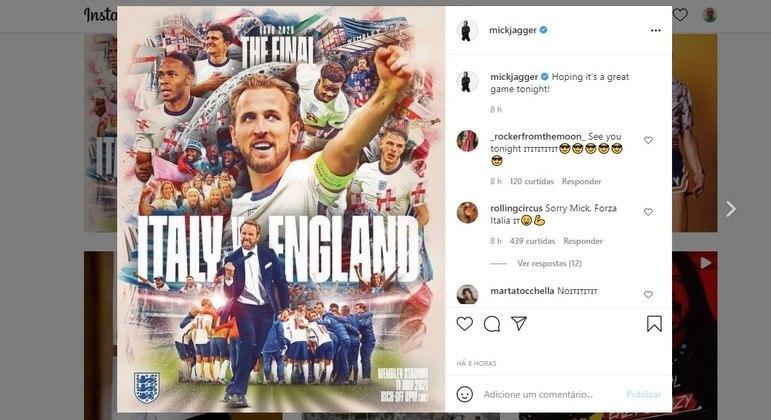 Mick Jagger postou apoio à Inglaterra no Instagram e foi zoado pelos fãs