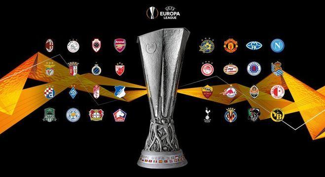 Os 32 clubes e o troféu da Liga da Europa