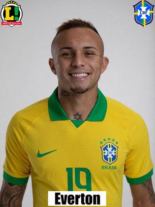Everton Cebolinha - 6,5: Entrou no segundo tempo no lugar de Roberto Firmino. Deu mais velocidade na ponta direita do Brasil e participou da jogada em que foi marcado o pênalti em Neymar.