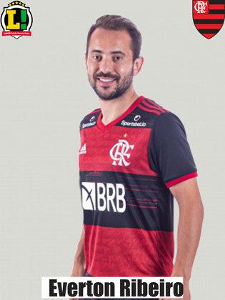 EVERTON RIBEIRO - 5,5 - O camisa 7 passou longe de comprometer a atuação coletiva do Flamengo, mas isso é muito pouco para o jogador que é. Não vive uma boa sequência, mas segue como titular e com a confiança de Ceni.