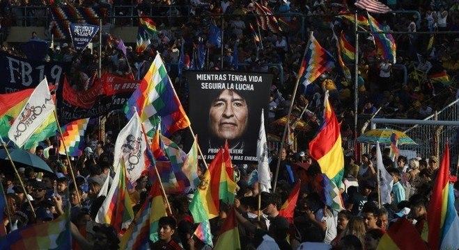 Manifestação a favor do ex-presidente de Evo Morales