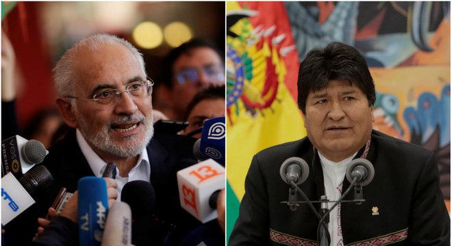 Carlos Mesa e Evo Morales, opositores em eleições na Bolívia