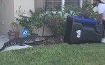 Um veterano do exército dos EUA acabou aplaudido pela vizinhança onde vive, no condado de Orange, na Flórida, ao utilizar uma lixeira para capturarum jacaré