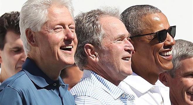 ex-presidentes dos EUA Bill Clinton, George W. Bush e Barack Obama