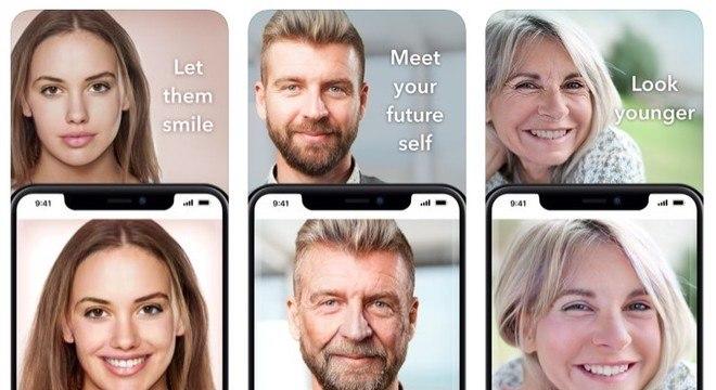 O FaceApp oferece vários filtros para editar o rosto, entre eles o de envelhecimento facial (ao centro)