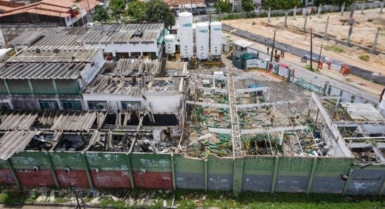 Área da unidade da White Martins  em Fortaleza, no Ceará, que explodiu