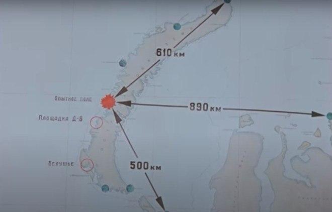O teste foi realizado em 1961, na ilha Severny, no extremo norte do círculo polar ártico