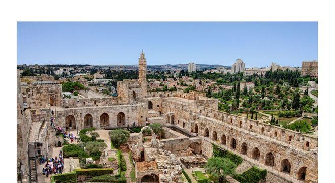 Imagem da cidade velha de Jerusalém vista da torre de Davi