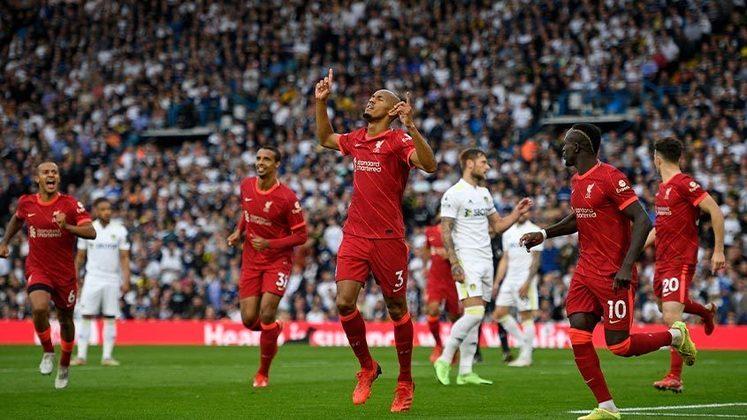 Fabinho: o volante se destacou na vitória do Liverpool por 3 a 0 contra o Leeds, e o brasileiro fez o segundo gol dos Reds na partida.