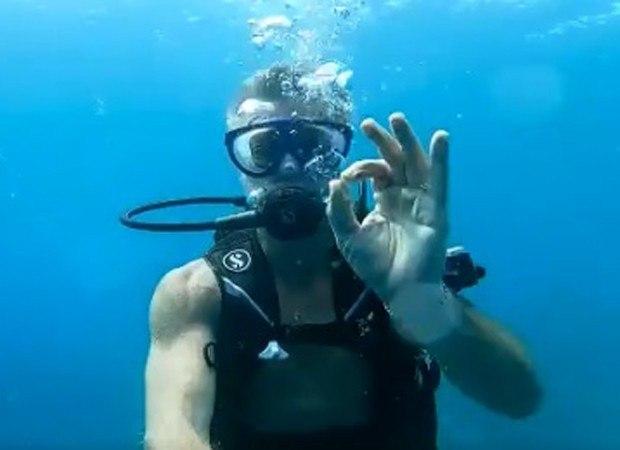 Fabio aproveitou a lua de mel para fazer mergulho