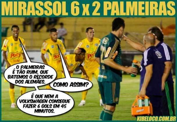 Faça chuva ou faça sol, gol do Mirassol! Em uma das derrotas mais humilhantes sofridas pelo Palmeiras, o Mirassol precisou de apenas 45 minutos para fazer 6 a 2 no Paulistão de 2013.