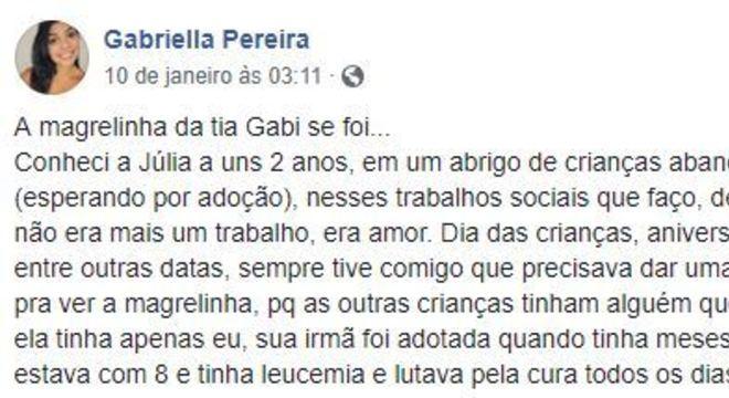 O relato de Gabriella teve mais de 19 mil compartilhamentos