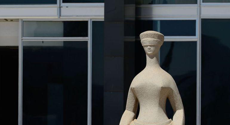 Estátua que simboliza a Justiça no STF: decisão de Fachin obriga partidos a marcar posição no campo político
