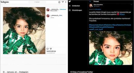 Essa imagem mostra uma menina que teria sido morta por um ataque israelense em Gaza. Mas, na verdade, se trata de uma criança russa, chamada Sophie, que está viva e tem 5 anos de idade