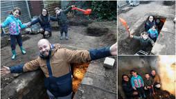 Família encontra abrigo da Segunda Guerra Mundial no quintal de casa ()