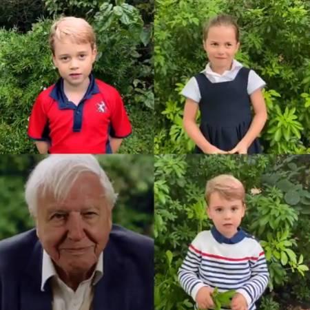 George, Charlott e Louis faze, perguntas para David Attenborough