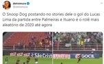 Em janeiro deste ano, o rapper norte-americano Snoop Dogg postou em seus stories do Instagram um gol de Lucas Lima, do Palmeiras, no Campeonato Paulista. Totalmente aleatório