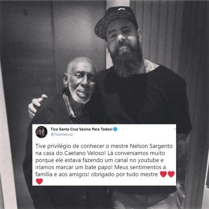 O cantor Tico Santa Cruz contou que conheceu Nelson na casa de Caetano Veloso: